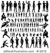 Vector Illustration of Black and White Silhouetted Business Men and Women by AtStockIllustration