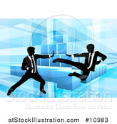 Vector Illustration of Black and White Silhouetted Business Men Fighting over Blocks on Blue by AtStockIllustration