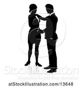 Vector Illustration of Black and White Silhouetted Businessman and Lady Shaking Hands, with a Reflection or Shadow by AtStockIllustration