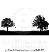 Vector Illustration of Black and White Silhouetted Grassy Field with Trees by AtStockIllustration