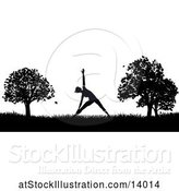 Vector Illustration of Black and White Silhouetted Lady in a Pilates Pose in a Park by AtStockIllustration