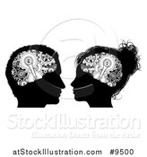 Vector Illustration of Black and White Silhouetted Male and Female Heads with Visible Gear Cogs in Their Brains by AtStockIllustration