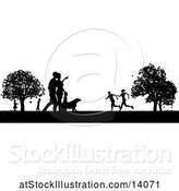 Vector Illustration of Black and White Silhouetted Park with a Dog and People, Grassy Field, and Trees by AtStockIllustration
