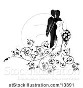 Vector Illustration of Black and White Silhouetted Posing Wedding Bride and Groom with a Bouquet by AtStockIllustration