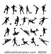 Vector Illustration of Black and White Silhouetted Soccer Players by AtStockIllustration