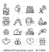 Vector Illustration of Black and White Sketched Life Event and Holiday Icons by AtStockIllustration