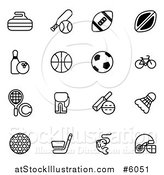 Vector Illustration of Black and White Sports Equipment Icons by AtStockIllustration