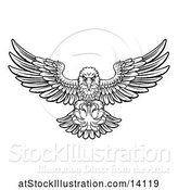 Vector Illustration of Black and White Swooping American Bald Eagle with a Baseball in His Talons by AtStockIllustration