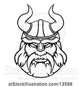 Vector Illustration of Black and White Tough Male Viking Warrior Face Wearing a Horned Helmet by AtStockIllustration