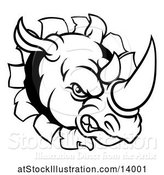 Vector Illustration of Black and White Tough Rhinoceros Sports Mascot Head Breaking Through a Wall by AtStockIllustration