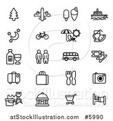 Vector Illustration of Black and White Tourist Icons by AtStockIllustration