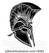 Vector Illustration of Black and White Trojan Spartan Helmet by AtStockIllustration