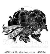 Vector Illustration of Black and White Vegetables by AtStockIllustration