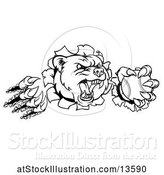Vector Illustration of Black and White Vicious Aggressive Bear Mascot Slashing Through a Wall with a Baseball in a Paw by AtStockIllustration