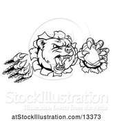 Vector Illustration of Black and White Vicious Aggressive Bear Mascot Slashing Through a Wall with a Football in a Paw by AtStockIllustration