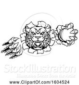 Vector Illustration of Black and White Vicious Bobcat Lynx Wildcat Mascot Breaking Through a Wall with a Cricket Ball by AtStockIllustration