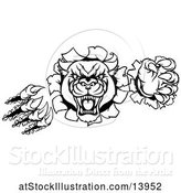 Vector Illustration of Black and White Vicious Roaring Panther Mascot Shredding Through a Wall by AtStockIllustration