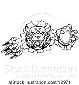Vector Illustration of Black and White Vicious Wildcat Mascot Breaking Through a Wall with a Football by AtStockIllustration