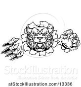 Vector Illustration of Black and White Vicious Wildcat Mascot Shredding Through a Wall by AtStockIllustration