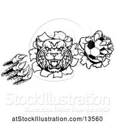 Vector Illustration of Black and White Vicious Wildcat Mascot Shredding Through a Wall with a Soccer Ball by AtStockIllustration