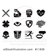 Vector Illustration of Black and White Video Game Attribute Icons by AtStockIllustration