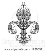 Vector Illustration of Black and White Vintage Engraved or Woodblock Fleur De Lis by AtStockIllustration