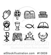 Vector Illustration of Black and White Watercolor Styled Christian Symbol Icons by AtStockIllustration