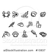 Vector Illustration of Black and White Watercolor Styled Food Safety Allergy Icons by AtStockIllustration