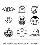 Vector Illustration of Black and White Watercolor Styled Halloween Icons by AtStockIllustration