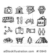 Vector Illustration of Black and White Watercolor Styled Travel Symbol Icons by AtStockIllustration
