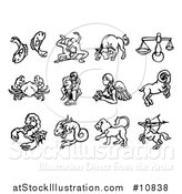 Vector Illustration of Black and White Watercolor Styled Zodiac Astrology Horoscope Sign Icons by AtStockIllustration