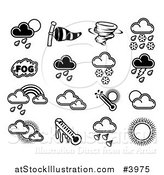 Vector Illustration of Black and White Weather Forecast Icons by AtStockIllustration