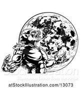 Vector Illustration of Black and White Werewolf Beast Howling and Transforming Against a Full Moon by AtStockIllustration