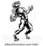 Vector Illustration of Black and White Werewolf Beast Howling and Transforming by AtStockIllustration