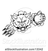 Vector Illustration of Black and White Wolf Slashing Through a Wall with a Cricket Ball by AtStockIllustration