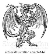 Vector Illustration of Black and White Woodcut Dragon by AtStockIllustration