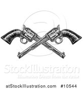 Vector Illustration of Black and White Woodcut Etched or Engraved Crossed Vintage Pistols by AtStockIllustration