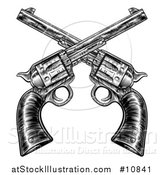Vector Illustration of Black and White Woodcut Etched or Engraved Crossed Vintage Revolver Pistols by AtStockIllustration