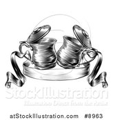 Vector Illustration of Black and White Woodcut or Engraved Beer Steins or Tankards Chinking Together in a Toast over a Ribbon Banner by AtStockIllustration