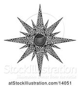 Vector Illustration of Black and White Woodcut Styled Christmas Star by AtStockIllustration