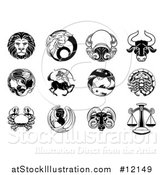 Vector Illustration of Black and White Zodiac Astrology Horoscope Star Signs by AtStockIllustration