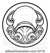 Vector Illustration of Black and White Zodiac Horoscope Astrology Aquarius Circle Design by AtStockIllustration