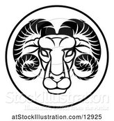 Vector Illustration of Black and White Zodiac Horoscope Astrology Aries Ram Circle Design by AtStockIllustration
