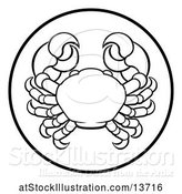 Vector Illustration of Black and White Zodiac Horoscope Astrology Cancer Crab Circle Design by AtStockIllustration