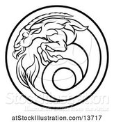 Vector Illustration of Black and White Zodiac Horoscope Astrology Capricorn Circle Design by AtStockIllustration