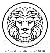 Vector Illustration of Black and White Zodiac Horoscope Astrology Leo Lion Circle Design by AtStockIllustration