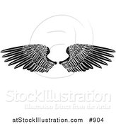 Vector Illustration of Black Angel Wings Spread Open by AtStockIllustration