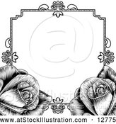 Vector Illustration of Black Border Frame with Roses by AtStockIllustration