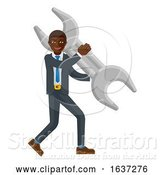 Vector Illustration of Black Businessman Holding Spanner Wrench Mascot by AtStockIllustration
