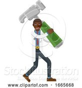 Vector Illustration of Black Doctor Guy Holding Hammer Mascot Concept by AtStockIllustration